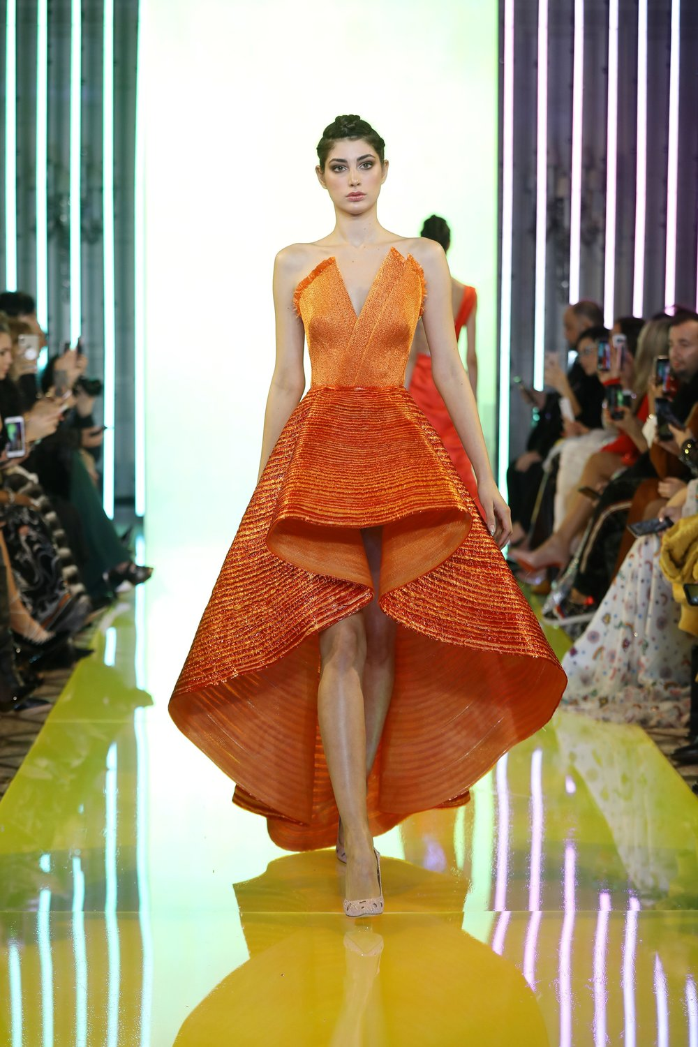 SS19-13 Orange Strapless Gown Featuring A Bodice Embellished With Raffia And A Voluminous Skirt Hand Appliquéd With PVC And Raffia.jpg