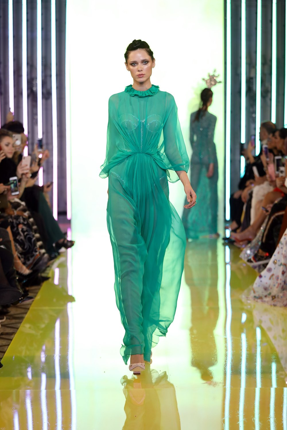 SS19-15- Petrol Green Silk Chiffon Dress Featuring A Bustier Highlighted With Swarovski Stones .jpg