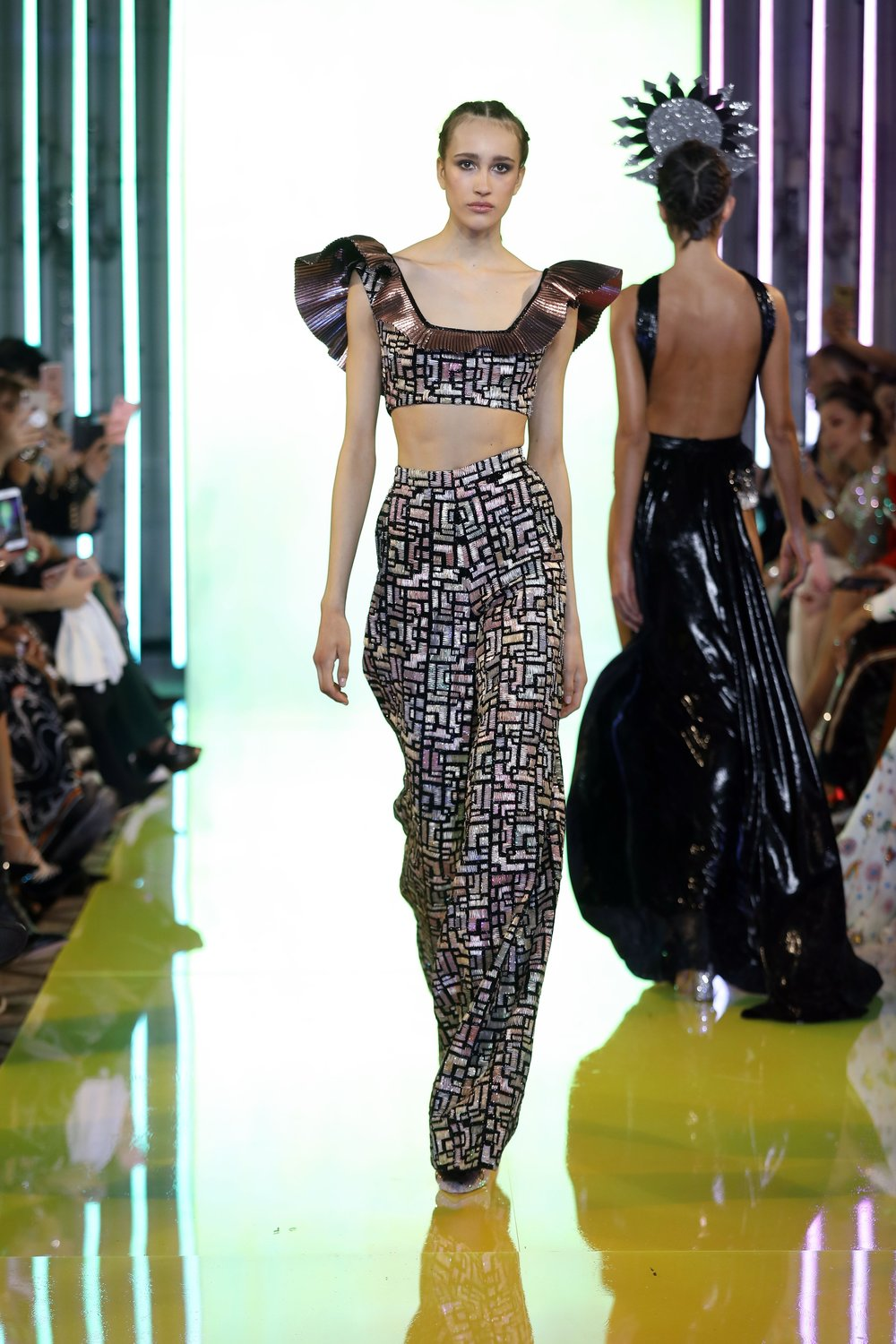 SS19-28- Black Ruffled Square Neckline Top And Wide Pants Geometrically Embellished With Metal Colored Threads, Matte And Shiny Glass Beads .jpg