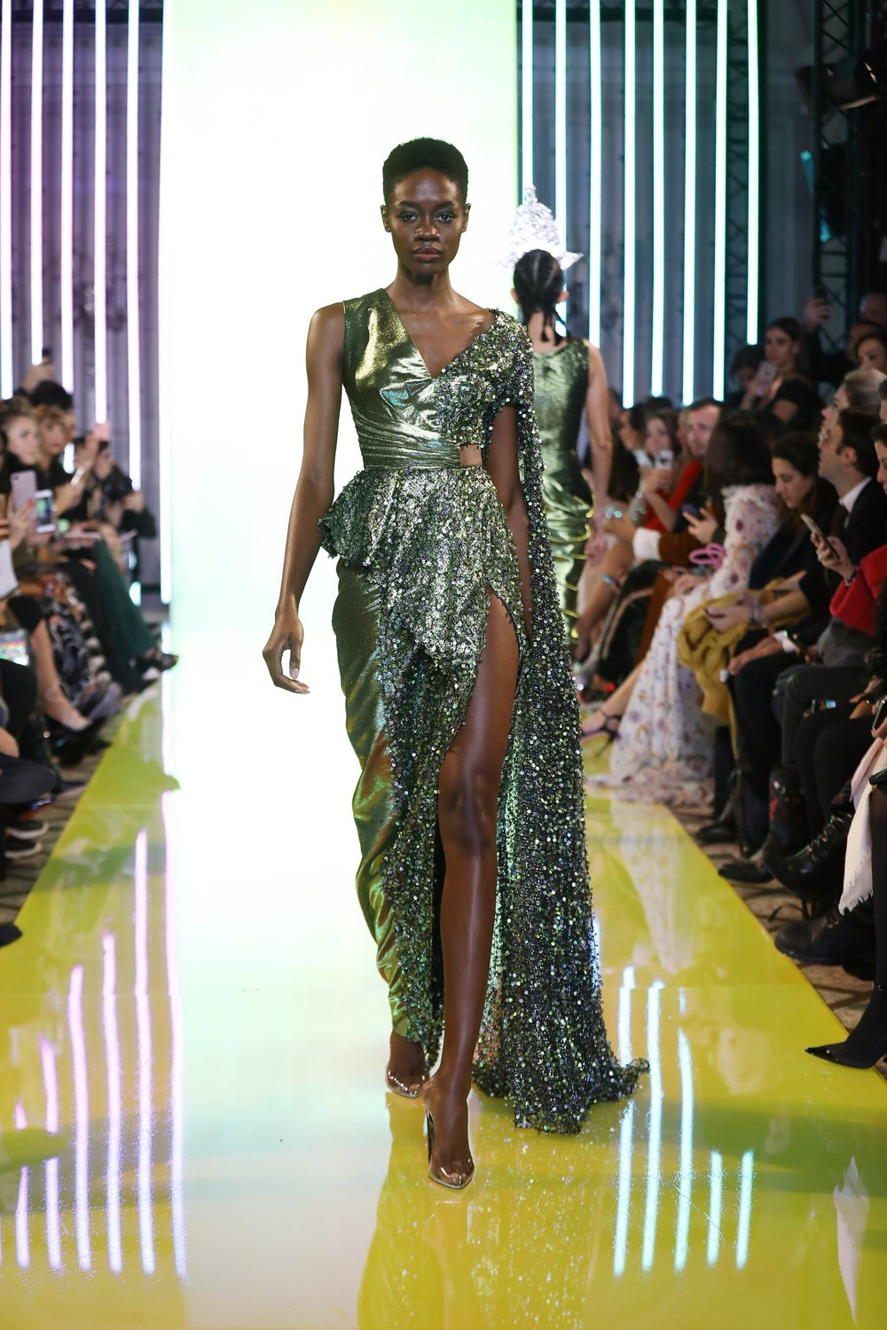 SS19-30- Olive Green Asymmetric Dress Featuring Threads And Sequins Embellishements And A Side Slit .jpg