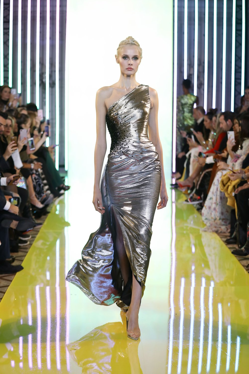 SS19-31- Gold And Silver Metallic Ombré One-Shoulder Lurex Draped Gown Featuring Embellishements Of Black Beads On The Side.jpg