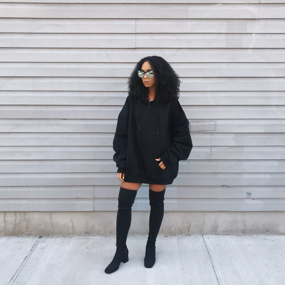 Wearing: Zara Hoodie /  Zara Fabric Over The Knee Boots