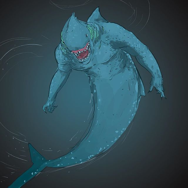 Flowing // Inktober Day 10: This is no Mer-Man this is.... M-ARK!!! A man shark who will eat your face if you swim in the deep end. . . . . . . . #inktober #inktober2018 #shark #conceptart #characterart #gameart #digitalart #streetshark #digitalartist #kingtober #wacom #drawing #denverart #denverartist #derekwk #mermaid #merman #creature #creatureart #monster #monsterart