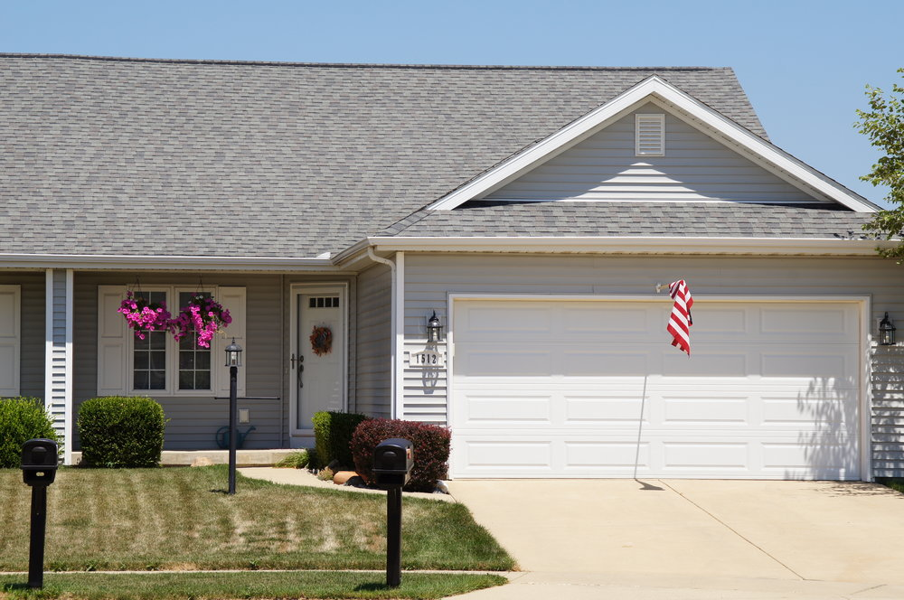 Ranch style single story home.  New home.  Residential construction.