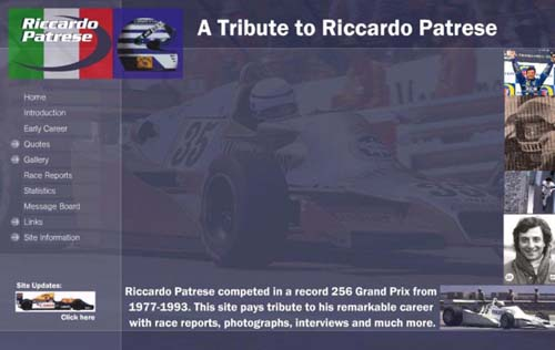 1999 - The first Riccardo Patrese website