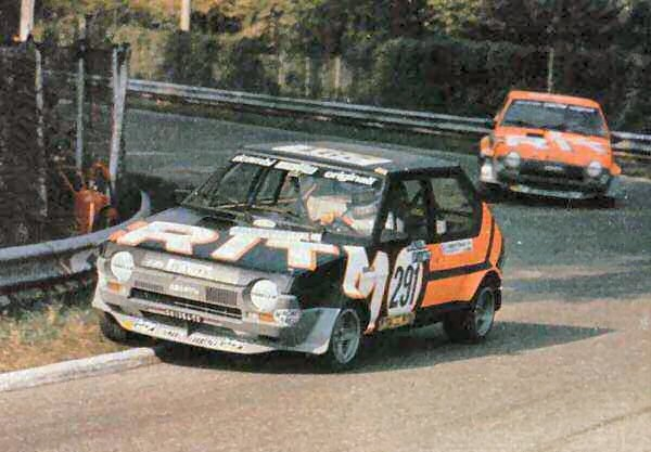 Riccardo leads Fiat Ritmo team-mate Jody Scheckter at Monza during the 1978 Giro d'Italia