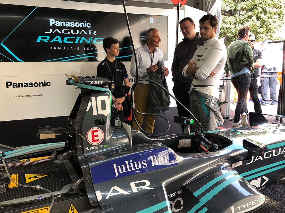 With Nelson Piquet Jr and the Jaguar Formula E Team