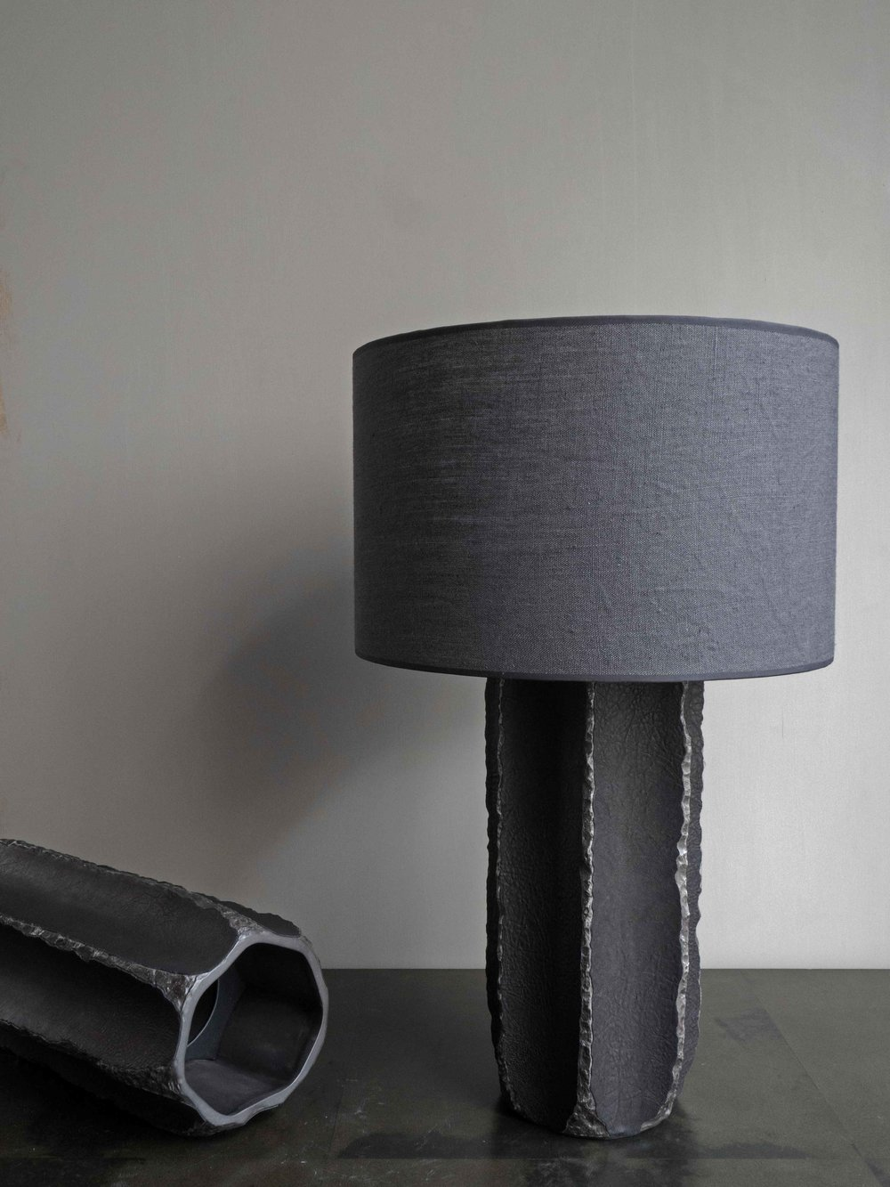 Leather Vase & Table Lamp