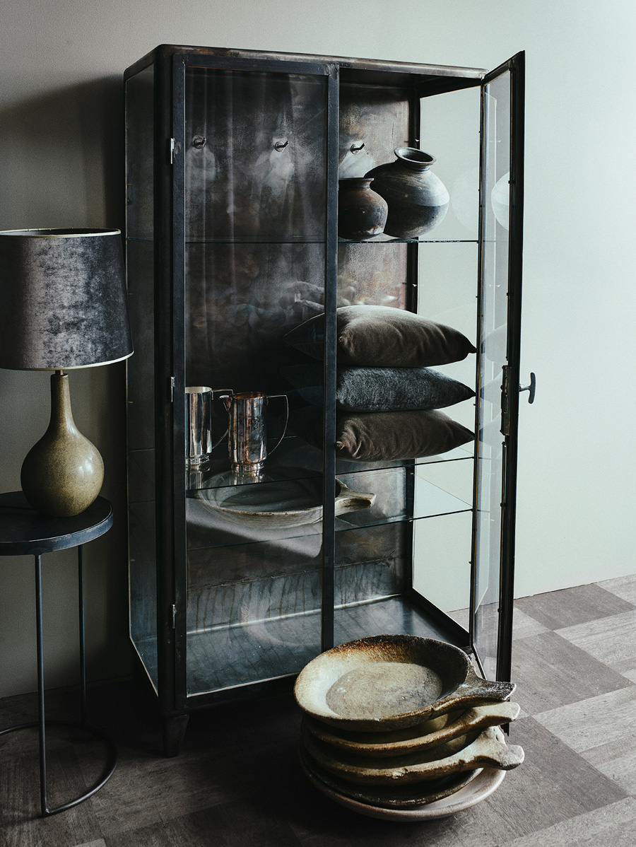 Medical Cabinet, Shagrin Lamp and Marble Bowl