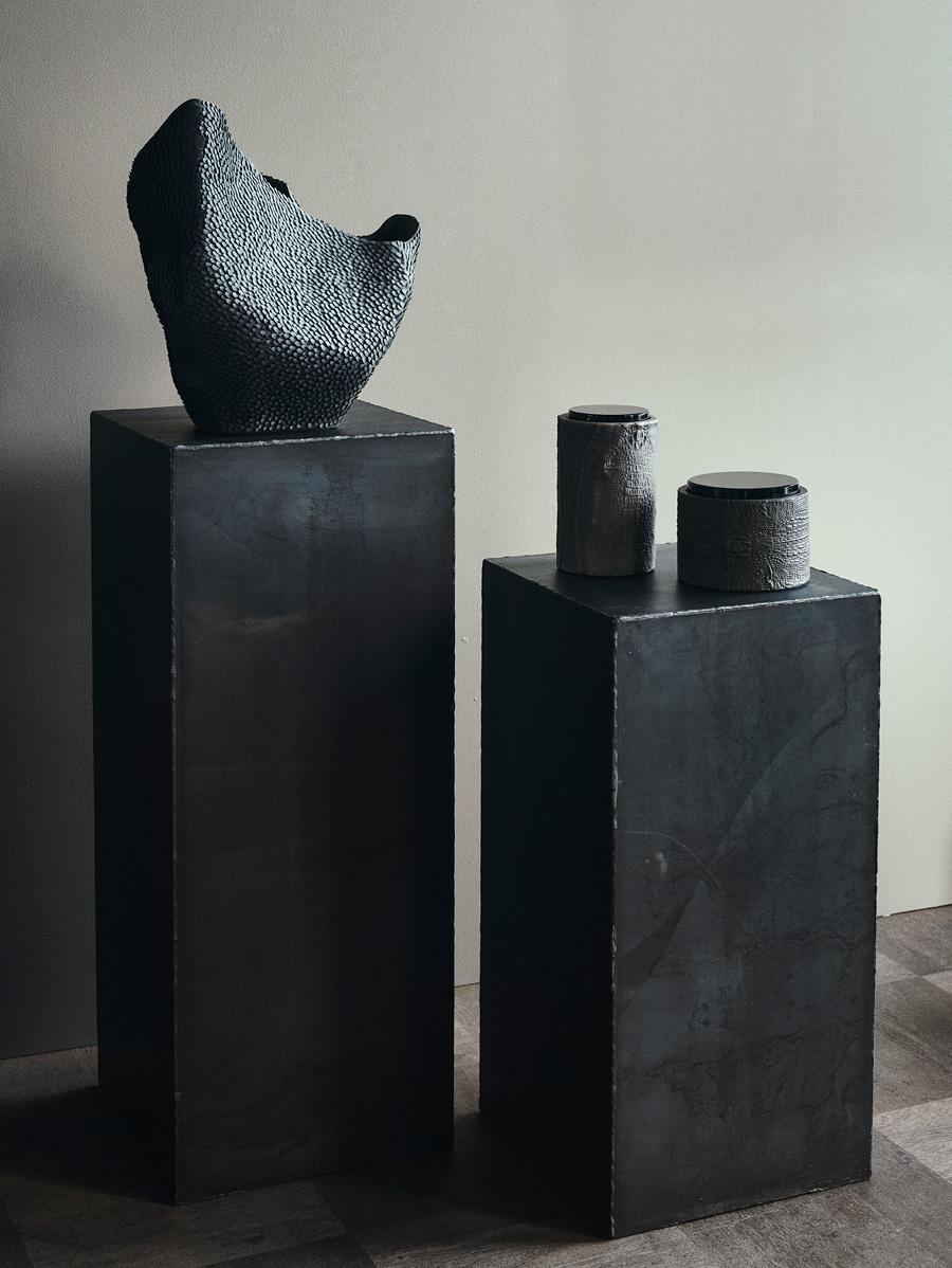 Iron Pedestal & Pangolin Vase
