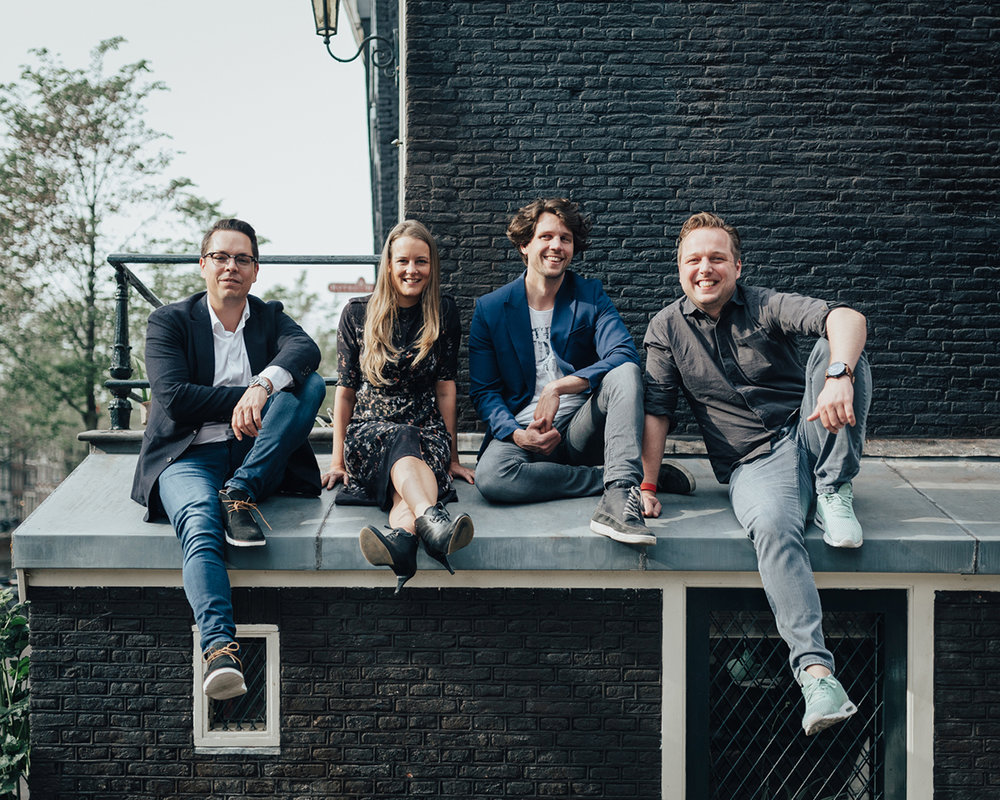 The management team at Faktor, from left to right: Tim Geenen, Anke Kuik, Niels Baarsma, Johan de Groot.