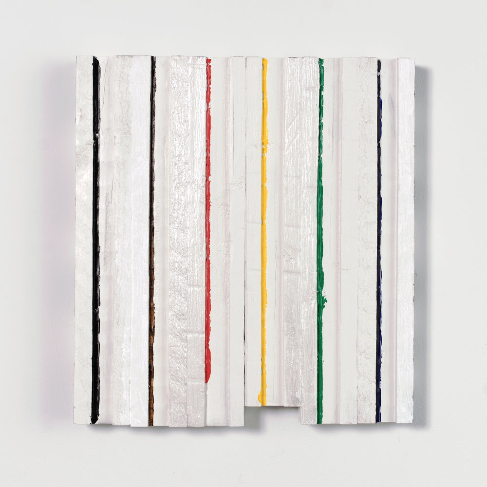 Caulk Line Surprise , 2017 acrylic on wood, 16 x 14.75 x 1.75 in
