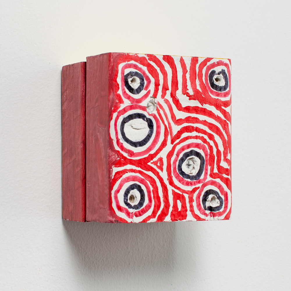 Ember Core , 2016, acrylic and sharpie on wood, 4 x 3.5 x 3 in