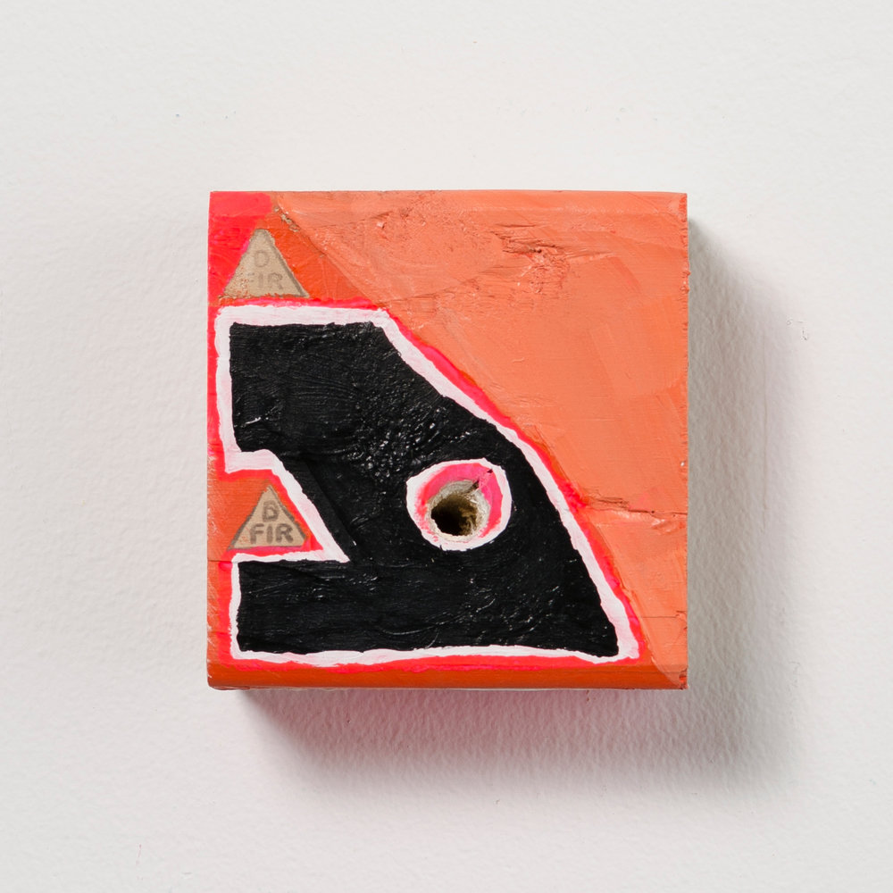 GP 5 , 2017, acrylic and enamel on wood, 3.5 x 3.5 x 1.5 in