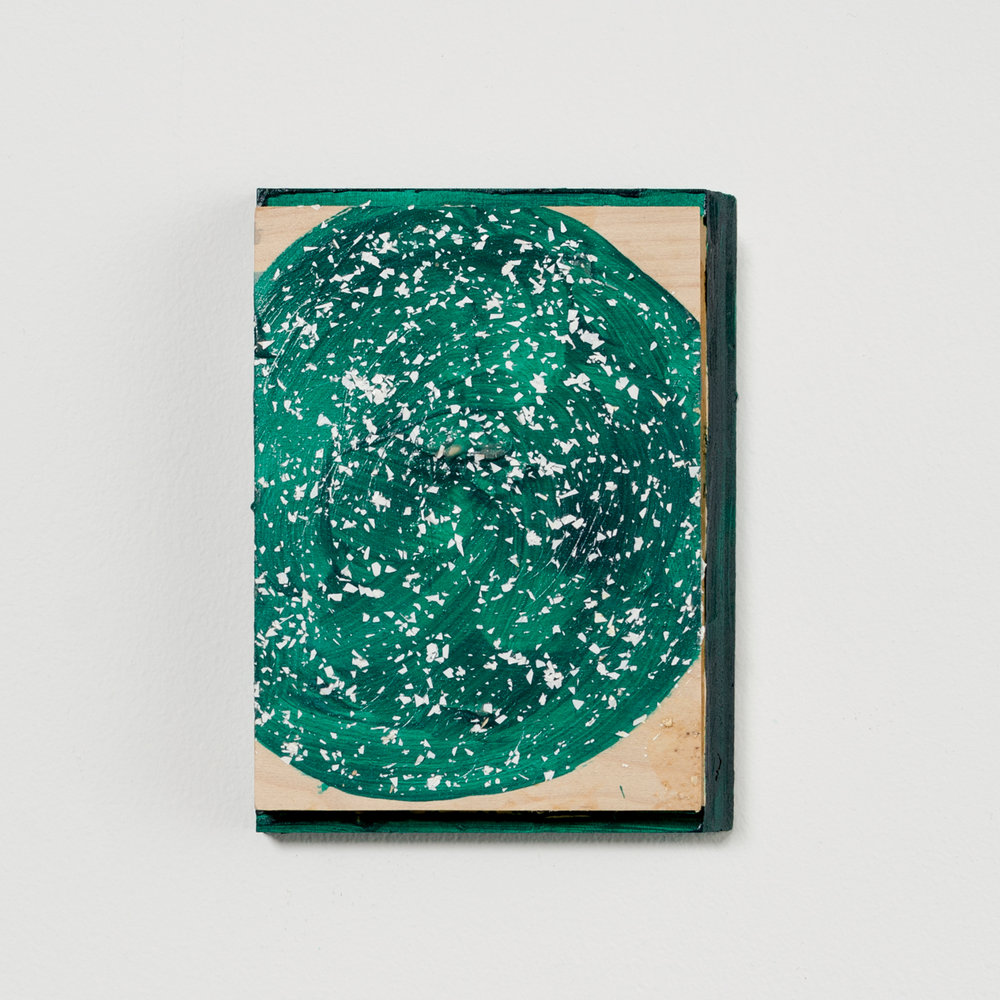 Green Fuzz , 2016, acrylic on wood, 7 x 5.25 x 1 in