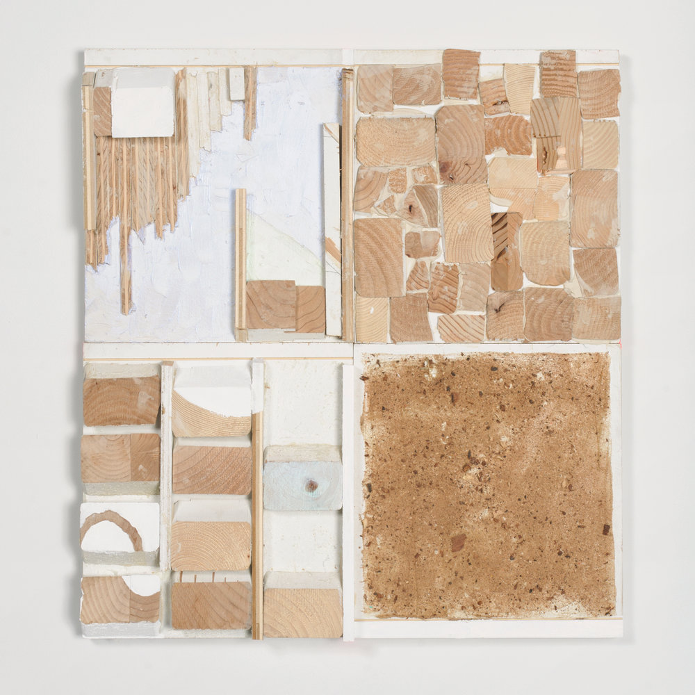 Thought Boxes , 2015, acrylic, enamel, sawdust and epoxy on wood, 26.25 x 24 x 2 in