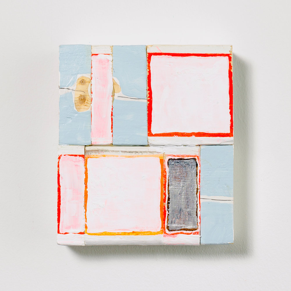 Torn Receipts , 2017, acrylic, enamel and graphite on wood, 6.75 x 6 x 1.5 in