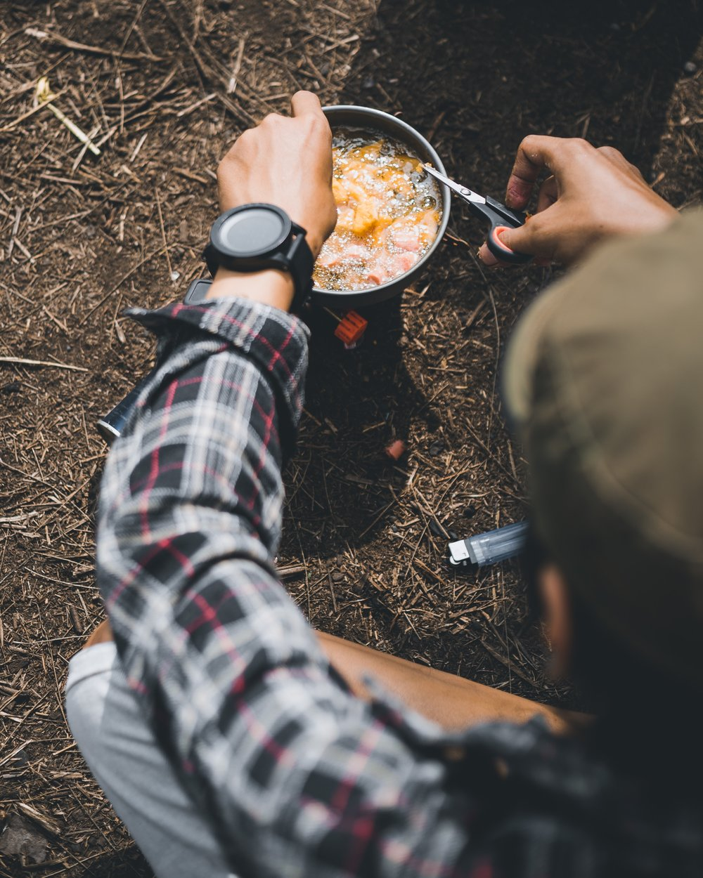 Sample Meal Plan for an Overnight Camping Trip - DINNERHearty soup or stew like this one with plenty of protein, with some cheese on the side (cheese packs a lot of calories per weight, and therefore makes great hiking/camping food) and some chocolate (preferably paper-wrapped) for dessertBREAKFASTCoffee, oatmeal with brown sugar and raisinsSNACKPeanut butter oat bars like these (peanut butter also has a great calorie-to-weight ratio)