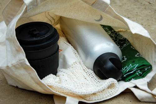 Cloth tote bag, mesh produce bag, to-go coffee cup, stainless steel water bottle, and bandana.
