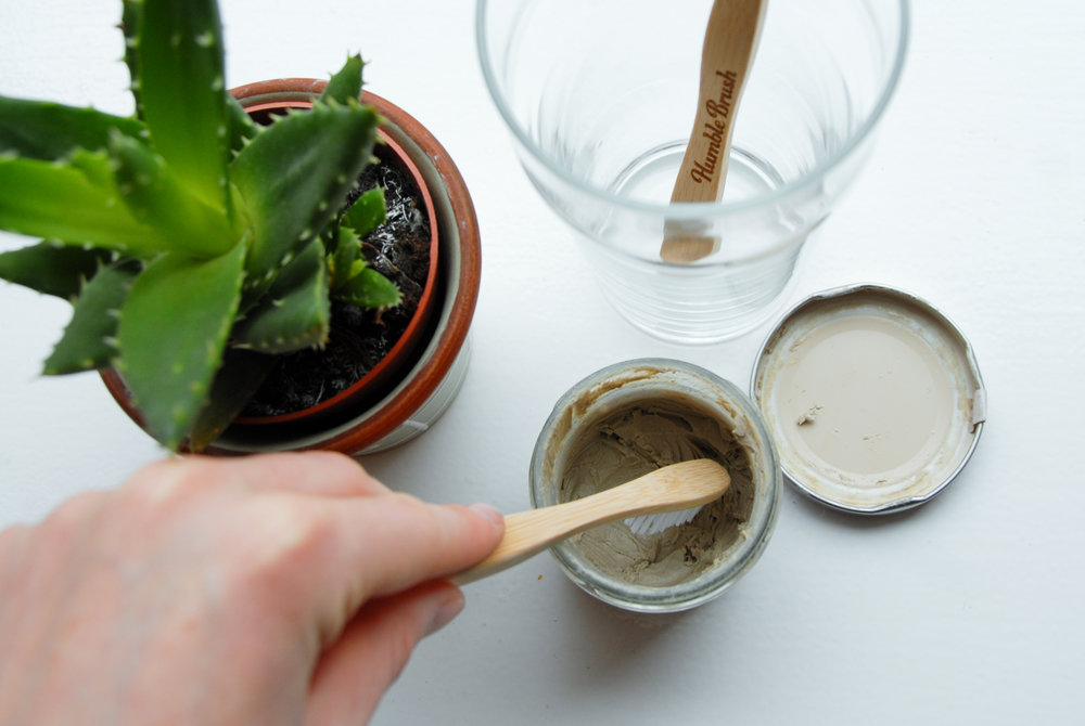 Bamboo toothbrush and clay based toothpaste