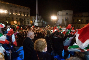President Giorgio Napolitano in Piazza del Quirinale on occasion of the Notte Tricolare , 16 March 2011