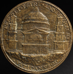 Medal commemorating the placing of the first stone of St. Peter's Basilica , Cristoforo Foppa, called 'il Caradosso', 1506. Rome Foundation Collection, Rome