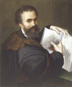 Portrait of Michelango Indicating his Designs , Sebastiano del Piombo (attributed), ca 1520. Galerie Hans, Hamburg