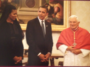 President and Mrs. Obama in an audience with Pope Benedict XVI (my photo of a photo)