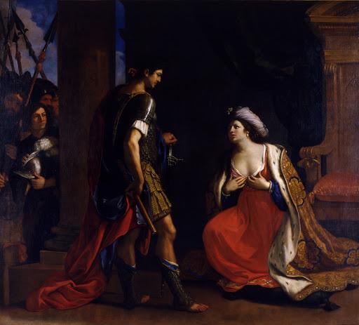 Cleopatra before Octavian Augustus , 1640, Pinacoteca Capiotolina, Rome