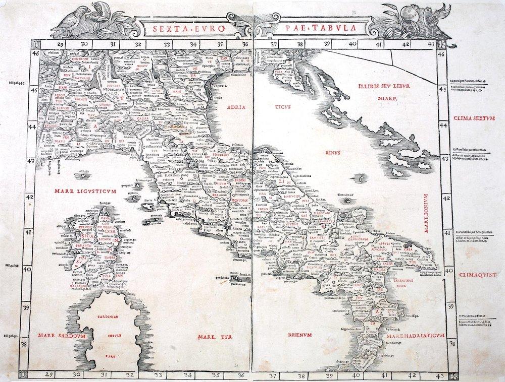 Sexta Europae Tabula , Silvano Bernardo, 1511