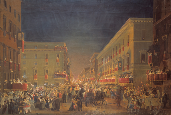 The Candle Race on Via del Corso , Ippolito Caffi, ca 1850