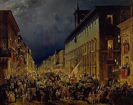 Carnival on the Corso , Ippolito Caffi