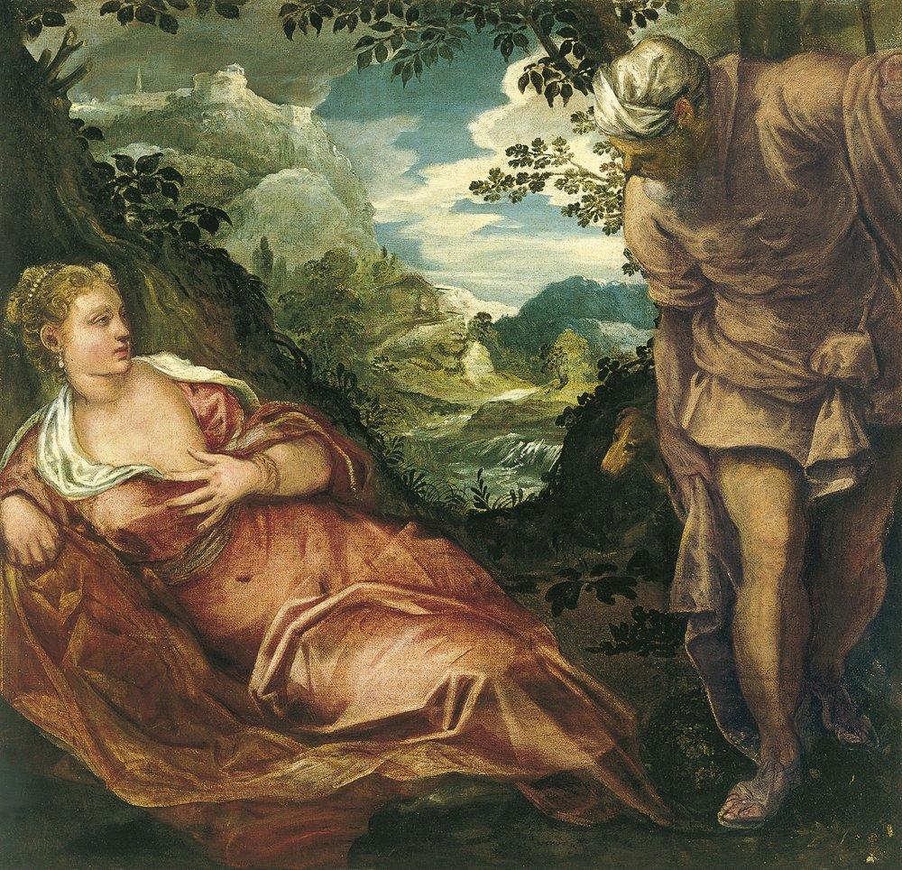 Meeting of Tamar and Judah , Tintoretto, ca 1555-59. Museo Thyssen-Bornemisza, Madrid