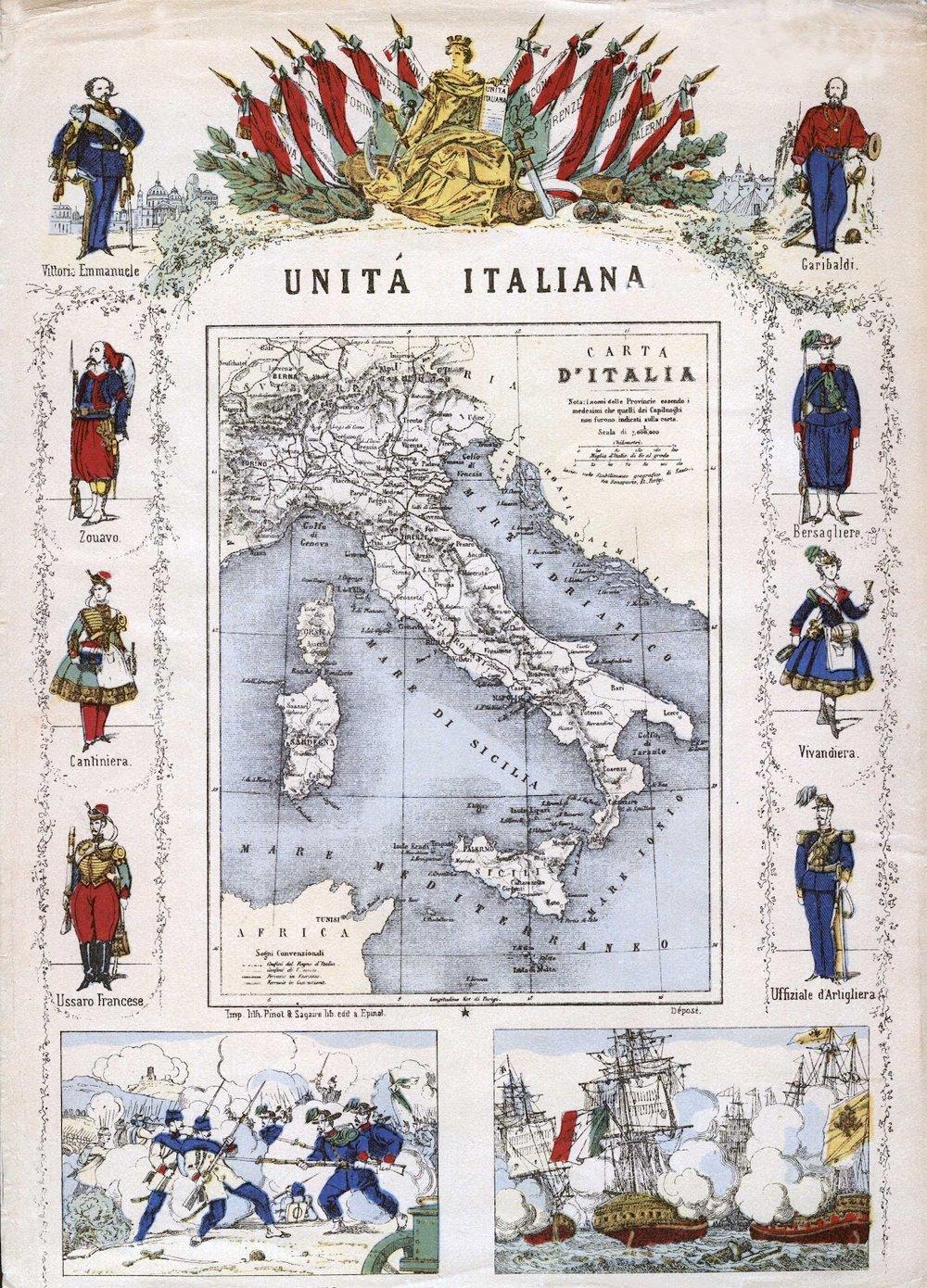 Italian Unity, Map of Italy,    Pinot and Segaire. ca 1861