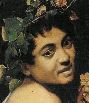Detail from  Sick Bacchus  (self portrait), Michelangelo Merisi da Caravaggio, 1593, Galleria Borghese, Rome
