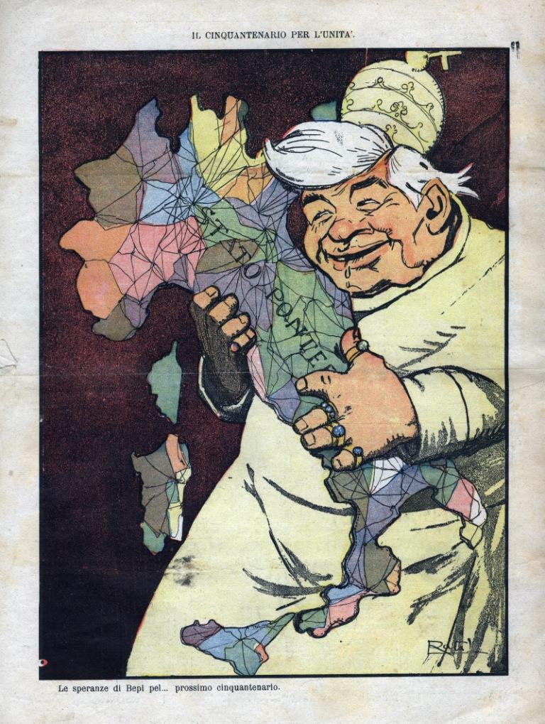 Le speranze del Bepi pel prossimo cinquantenario,  Anonymous,  L'Asino . 1911