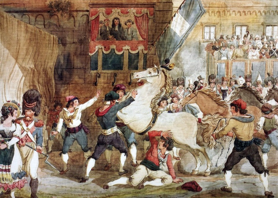 The retaking of the Berbers , Achille Pinelli, 1832