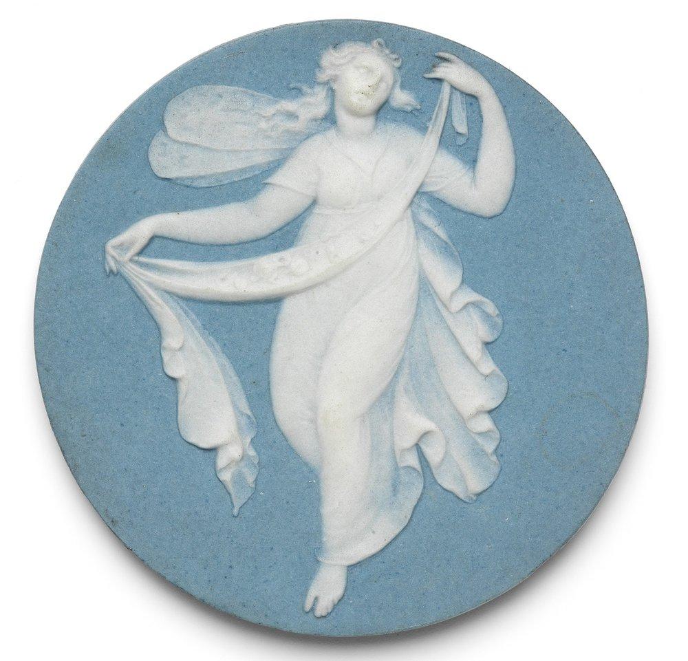 Porcelain jasper medal depicting  Psyche , Josiah Wedgwood, Late 18th century. Fitzwilliam Museum, Cambridge