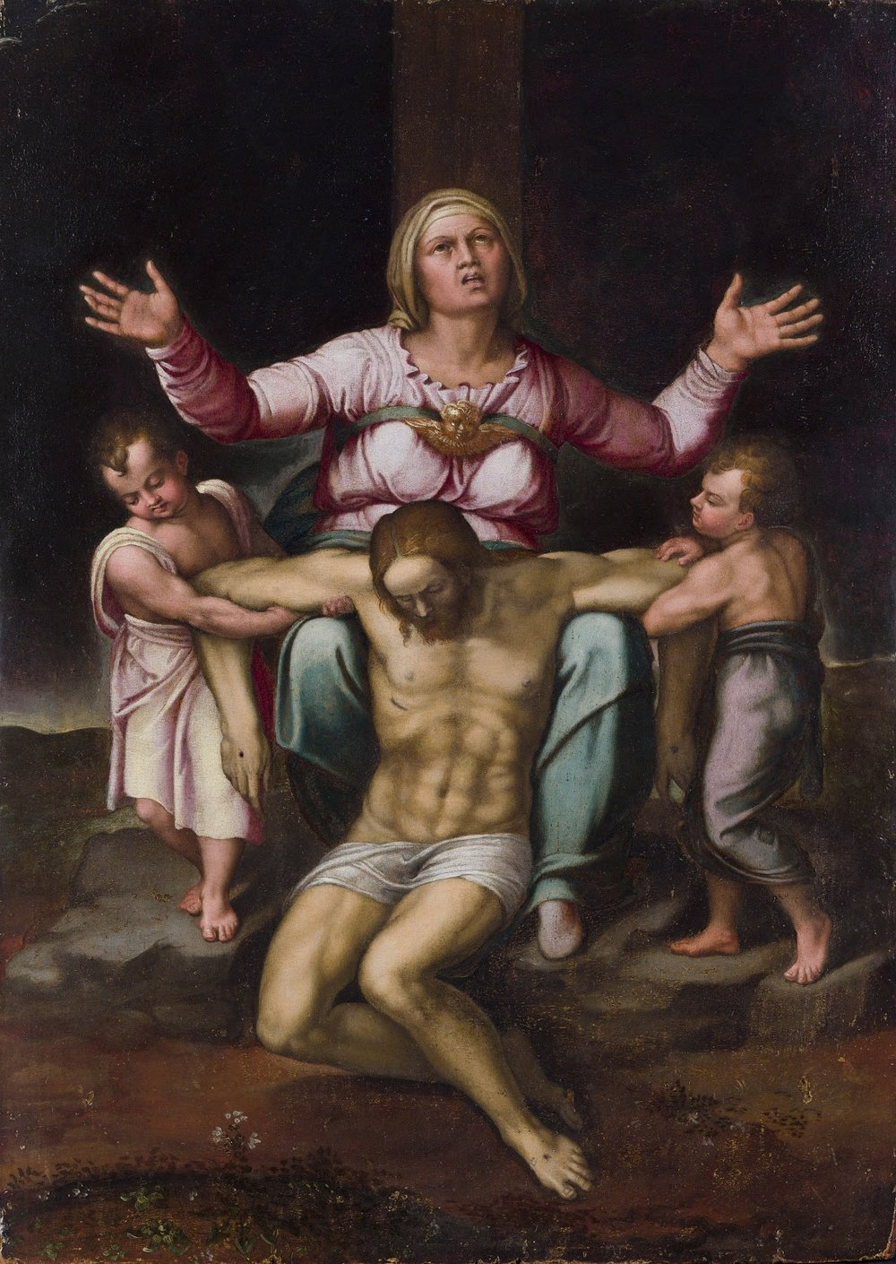 Pietà di Ragusa , School of Michelangelo (with attribution to Michelangelo himself by some scholars), 1545. Private collection