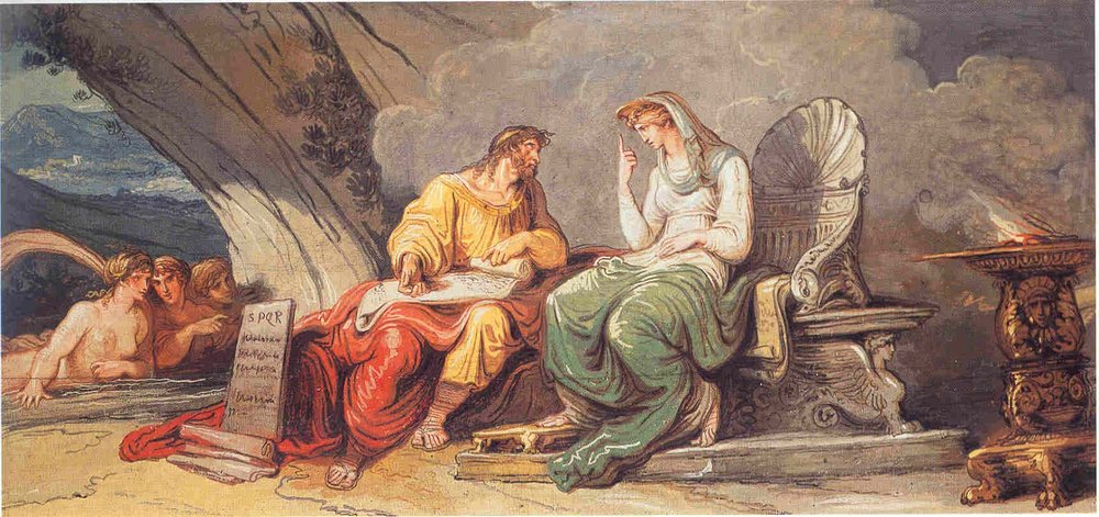 Egeria Gives the Laws of Rome to Numa Pompilius , Anna Ottani Cavina, Spanish Embassy to the Holy See, Rome, 1806.