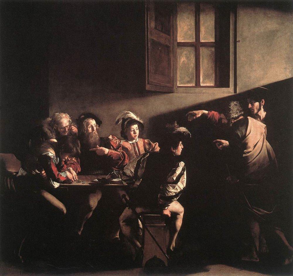 The Calling of St. Matthew  , Michelangelo Merisi da Caravaggio, Contarelli Chapel, San Luigi dei Francesi, Rome, 1599-1600