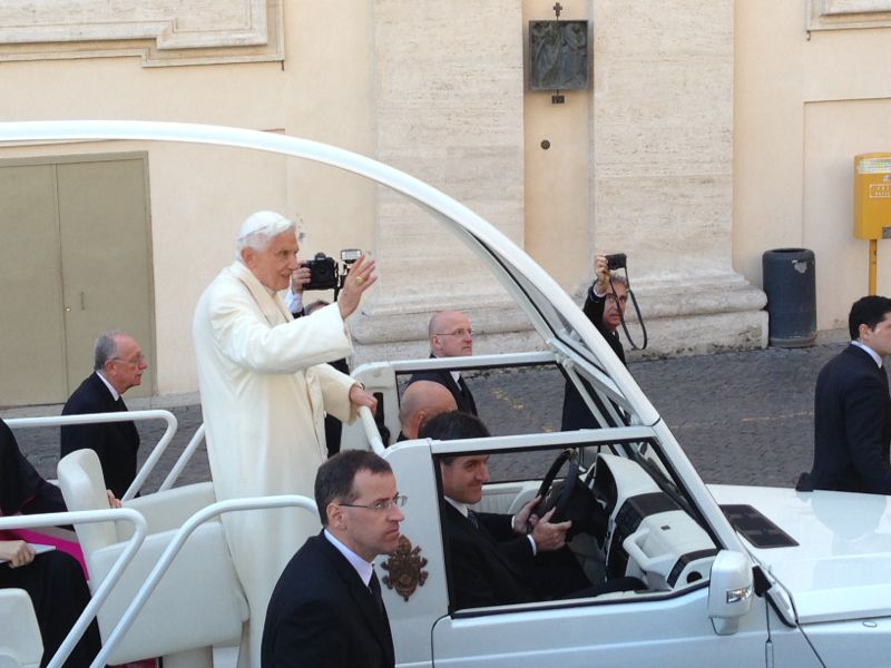 Benedict XVI's last ride in his Pope-mobile. © Claudio Ianniello