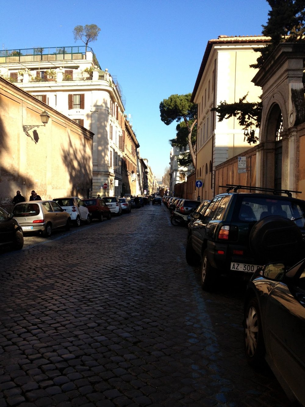 Walking down Via della Lungara toward St. Peter's to see the pope's final appearance