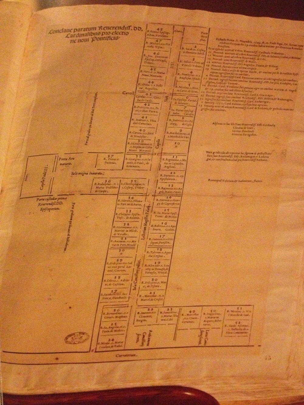 Floorplan of Cardinal's cells, Conclave of 1550, Vatican Secret Archives