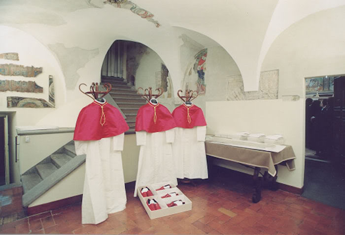 Sala del Pianto with Three Sizes of Papal Vestments