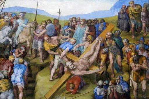 Crucifixion of St. Peter ,Michelangelo Buonarroti, Pauline Chapel, Apostolic Palace, Vatican
