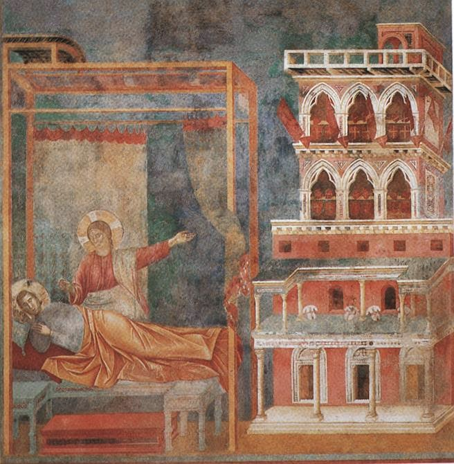 The Dream of the Palace , Giotto. Basilica of San Francesco d'Assisi, Assisi. [ source ]