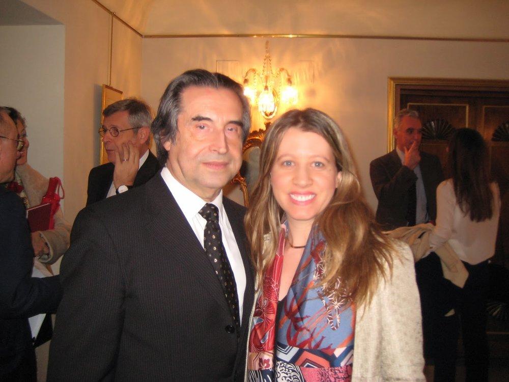 With Maestro Riccardo Muti after a performance of Verdi's  I Due Foscari  at the Teatro dell'Opera di Roma.