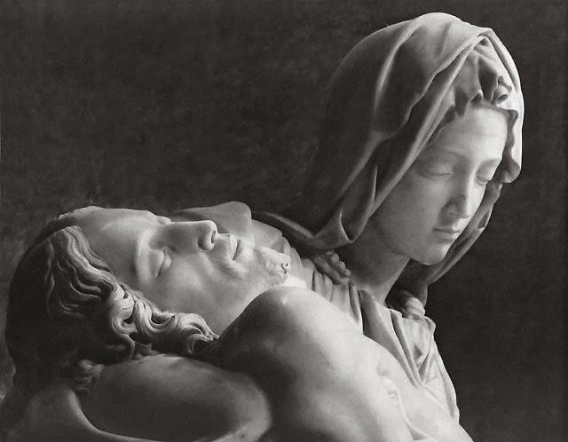 Detail of the Pietà, Michelangelo, St. Peter's Basilica, Rome [ source ]