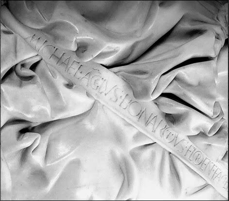 Detail of the Pietà, signature, Michelangelo, St. Peter's Basilica [ source ]